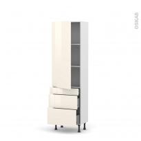 Colonne de cuisine N°2758 - Armoire étagère - KERIA Ivoire - 3 tiroirs casserolier - L60 x H195 x P37 cm