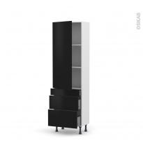 Colonne de cuisine N°2758 - Armoire étagère - GINKO Noir - 3 tiroirs casserolier - L60 x H195 x P37 cm