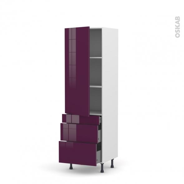 Colonne de cuisine N°2758 - Armoire étagère - KERIA Aubergine - 3 tiroirs casserolier - L60 x H195 x P37 cm