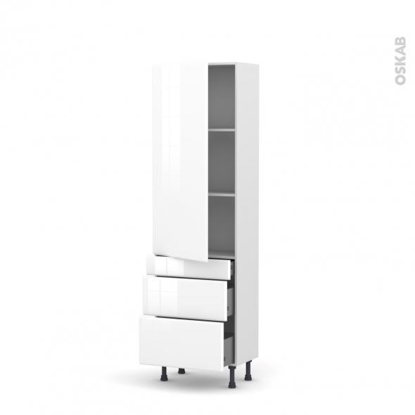 Colonne de cuisine N°2758 - Armoire étagère - IRIS Blanc - 3 tiroirs casserolier - L60 x H195 x P37 cm