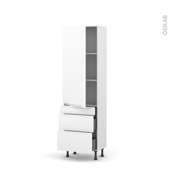 Colonne de cuisine N°2758 - Armoire étagère - PIMA Blanc - 3 tiroirs casserolier - L60 x H195 x P37 cm