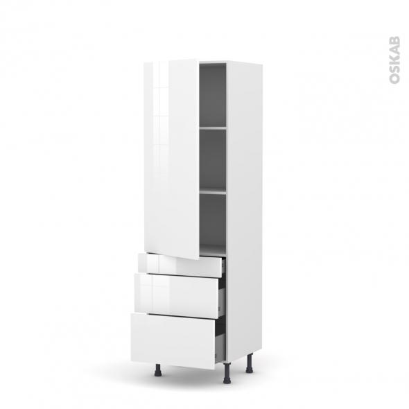 Colonne de cuisine N°2758 - Armoire étagère - STECIA Blanc - 3 tiroirs casserolier - L60 x H195 x P37 cm