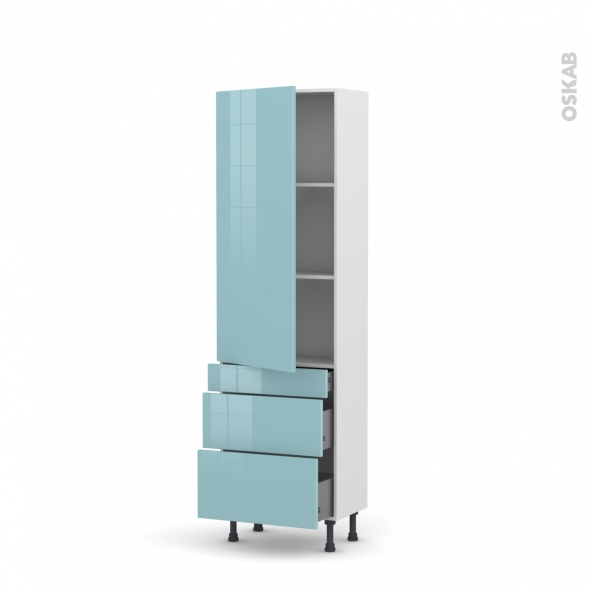 KERIA Bleu - Armoire étagère N°2758  - Prof.37  3 tiroirs casserolier - L60xH195xP37