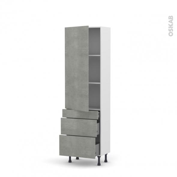 FAKTO Béton - Armoire étagère N°2758  - Prof.37  3 tiroirs casserolier - L60xH195xP37