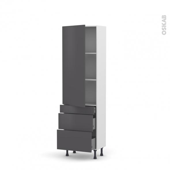GINKO Gris - Armoire étagère N°2758  - Prof.37  3 tiroirs casserolier - L60xH195xP37