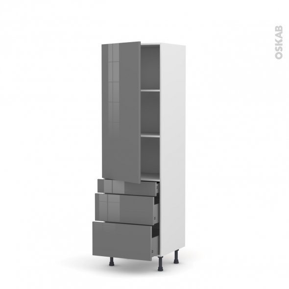 Colonne de cuisine N°2758 - Armoire étagère - STECIA Gris - 3 tiroirs casserolier - L60 x H195 x P37 cm