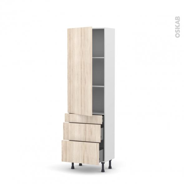 Colonne de cuisine N°2758 - Armoire étagère - IKORO Chêne clair - 3 tiroirs casserolier - L60 x H195 x P37 cm