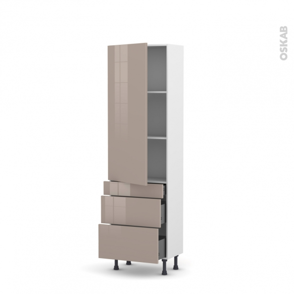 Colonne de cuisine N°2758 - Armoire étagère - KERIA Moka - 3 tiroirs casserolier - L60 x H195 x P37 cm