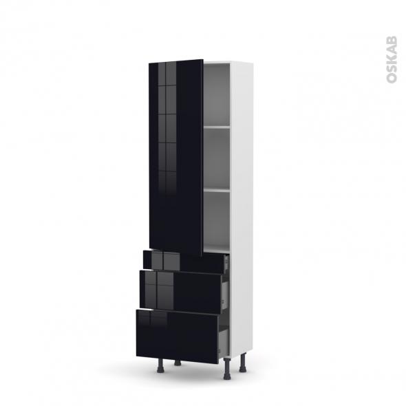 Colonne de cuisine N°2758 - Armoire étagère - KERIA Noir - 3 tiroirs casserolier - L60 x H195 x P37 cm