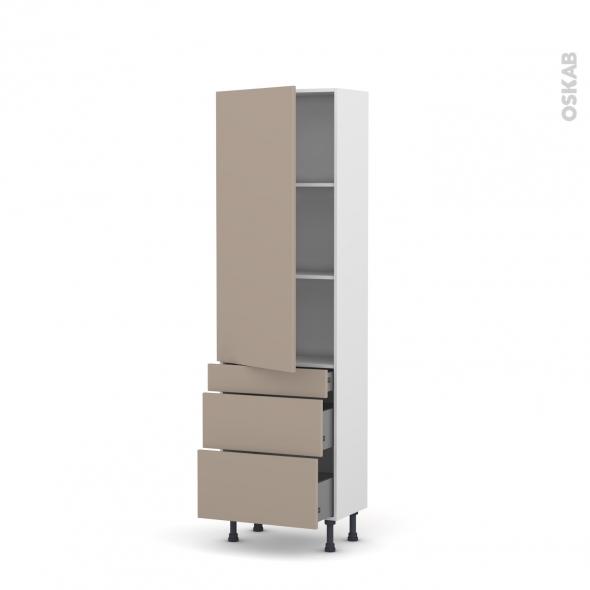 Colonne de cuisine N°2758 - Armoire étagère - GINKO Taupe - 3 tiroirs casserolier - L60 x H195 x P37 cm