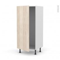 Colonne de cuisine N°27 - Armoire frigo encastrable - IKORO Chêne clair - 1 porte - L60 x H125 x P58 cm