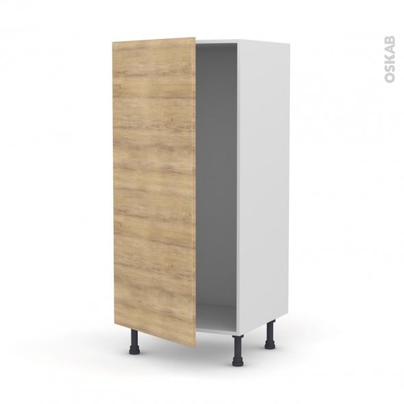Colonne de cuisine N°27 - Armoire frigo encastrable - HOSTA Chêne naturel - 1 porte - L60 x H125 x P58 cm