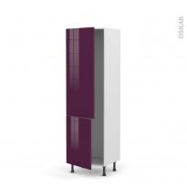 Colonne de cuisine N°2721 - Armoire frigo encastrable - KERIA Aubergine - 2 portes - L60 x H195 x P58 cm