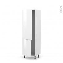 Colonne de cuisine N°2721 - Armoire frigo encastrable - STECIA Blanc - 2 portes - L60 x H195 x P58 cm