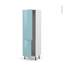 Colonne de cuisine N°2721 - Armoire frigo encastrable - KERIA Bleu - 2 portes - L60 x H195 x P58 cm