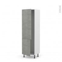 Colonne de cuisine N°2721 - Armoire frigo encastrable - FAKTO Béton - 2 portes - L60 x H195 x P58 cm