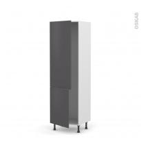 Colonne de cuisine N°2721 - Armoire frigo encastrable - GINKO Gris - 2 portes - L60 x H195 x P58 cm