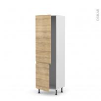 Colonne de cuisine N°2721 - Armoire frigo encastrable - IPOMA Chêne naturel - 2 portes - L60 x H195 x P58 cm