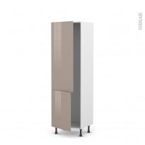 Colonne de cuisine N°2721 - Armoire frigo encastrable - KERIA Moka - 2 portes - L60 x H195 x P58 cm
