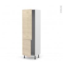 Colonne de cuisine N°2721 - Armoire frigo encastrable - STILO Noyer Blanchi - 2 portes - L60 x H195 x P58 cm
