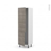 Colonne de cuisine N°2721 - Armoire frigo encastrable - STILO Noyer Naturel - 2 portes - L60 x H195 x P58 cm