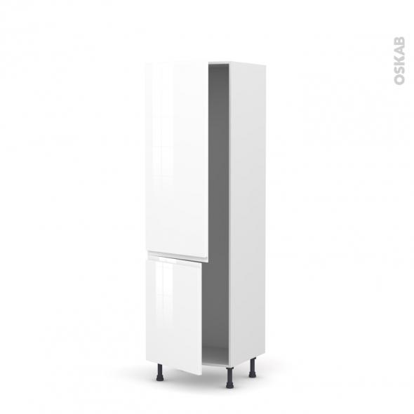Colonne de cuisine N°2721 - Armoire frigo encastrable - IPOMA Blanc brillant - 2 portes - L60 x H195 x P58 cm