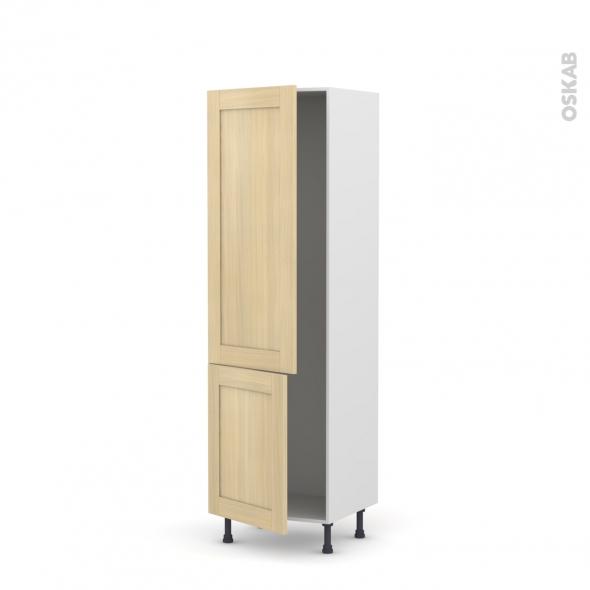 BASILIT Bois Vernis - Armoire frigo N°2721  - 2 portes - L60xH195xP58