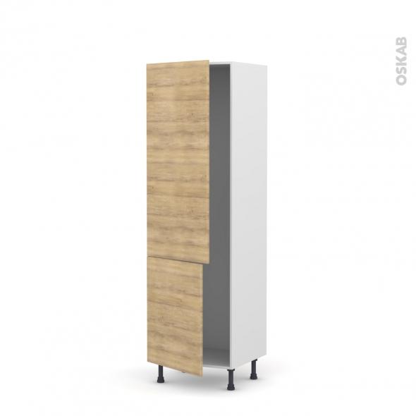 Colonne de cuisine N°2721 - Armoire frigo encastrable - HOSTA Chêne naturel - 2 portes - L60 x H195 x P58 cm