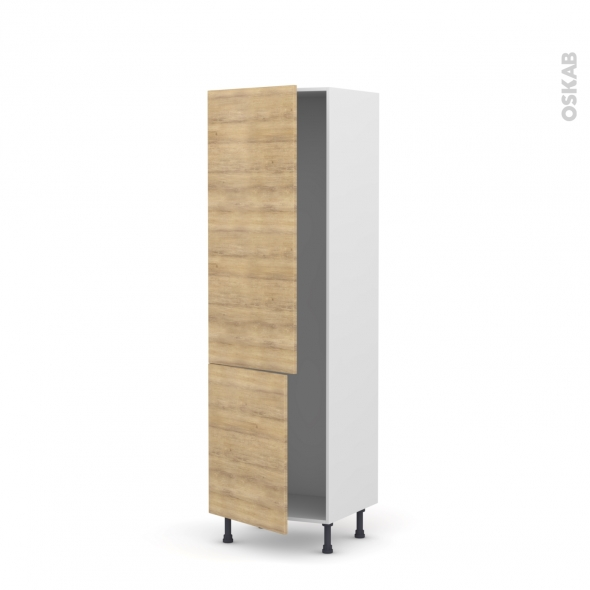 HOSTA Chêne naturel - Armoire frigo N°2721  - 2 portes - L60xH195xP58