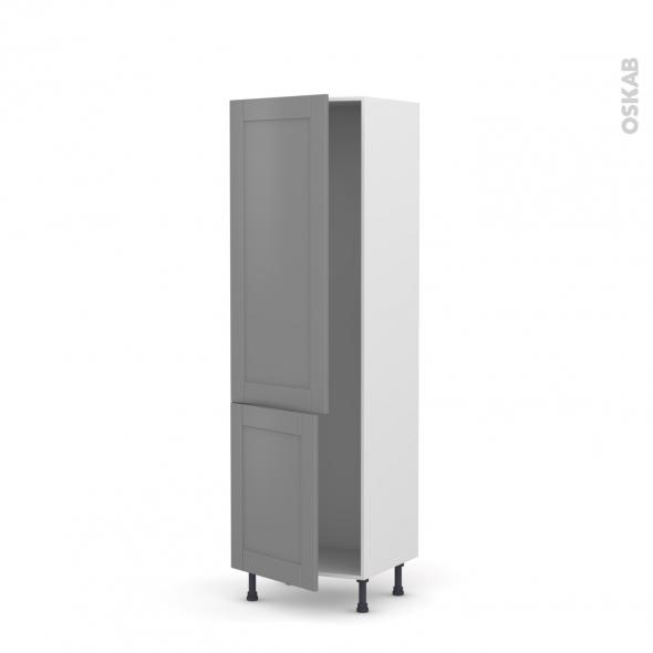 Colonne de cuisine N°2721 - Armoire frigo encastrable - FILIPEN Gris - 2 portes - L60 x H195 x P58 cm