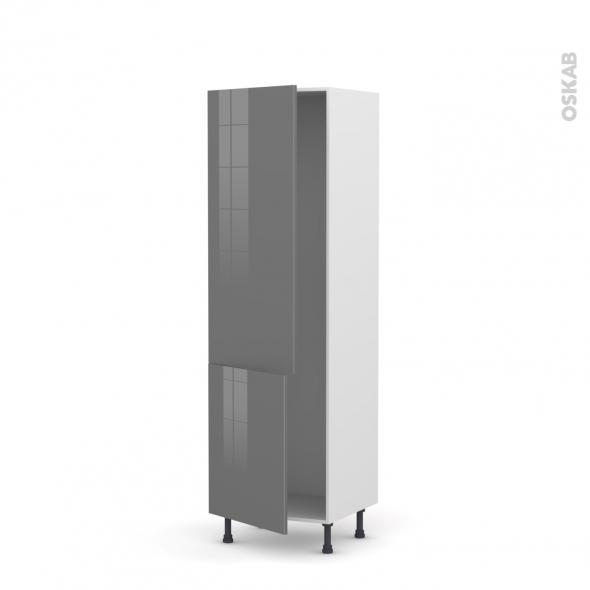 Colonne de cuisine N°2721 - Armoire frigo encastrable - STECIA Gris - 2 portes - L60 x H195 x P58 cm