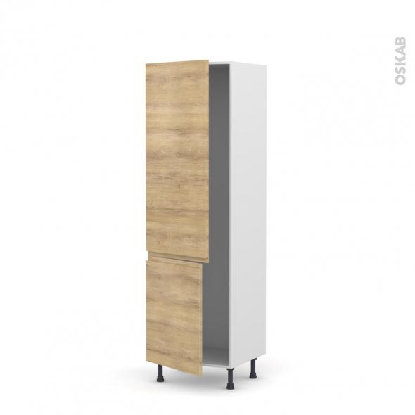 IPOMA Chêne Naturel - Armoire frigo N°2721  - 2 portes - L60xH195xP58