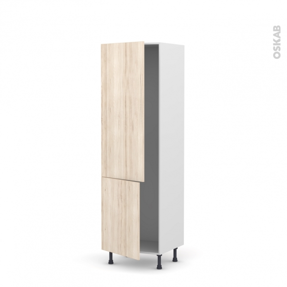 Colonne de cuisine N°2721 - Armoire frigo encastrable - IKORO Chêne clair - 2 portes - L60 x H195 x P58 cm
