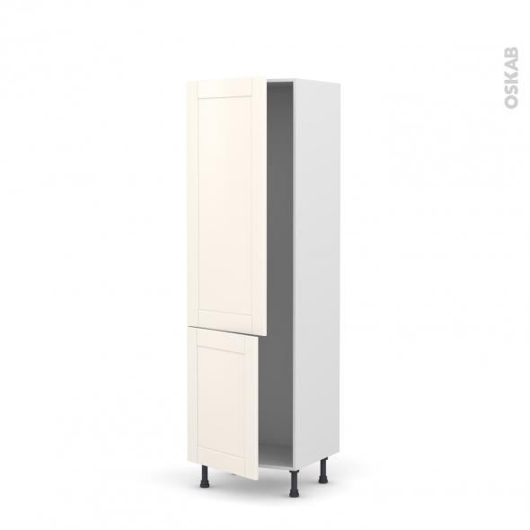 Colonne de cuisine N°2721 - Armoire frigo encastrable - FILIPEN Ivoire - 2 portes - L60 x H195 x P58 cm