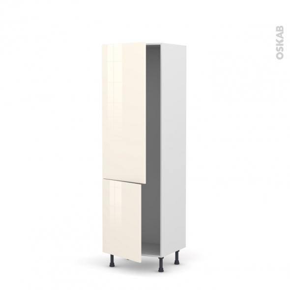 Colonne de cuisine N°2721 - Armoire frigo encastrable - KERIA Ivoire - 2 portes - L60 x H195 x P58 cm