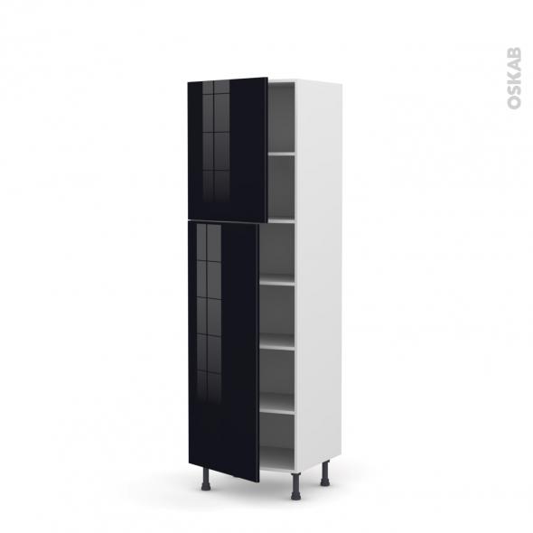 Colonne de cuisine N°2721 - Armoire frigo encastrable - KERIA Noir - 2 portes - L60 x H195 x P58 cm