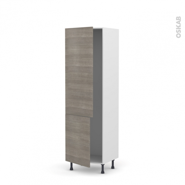 STILO Noyer Naturel - Armoire frigo N°2721  - 2 portes - L60xH195xP58
