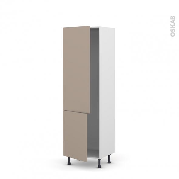 Colonne de cuisine N°2721 - Armoire frigo encastrable - GINKO Taupe - 2 portes - L60 x H195 x P58 cm