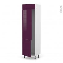 Colonne de cuisine N°2721 - Frigo 2 portes encastrables - KERIA Aubergine - 2 portes - L60 x H217 x P58 cm