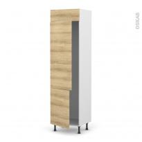 Colonne de cuisine N°2721 - Frigo 2 portes encastrables - HOSTA Chêne naturel - 2 portes - L60 x H217 x P58 cm