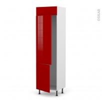 Colonne de cuisine N°2721 - Frigo 2 portes encastrables - STECIA Rouge - 2 portes - L60 x H217 x P58 cm