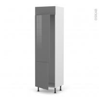 Colonne de cuisine N°2721 - Frigo 2 portes encastrables - STECIA Gris - 2 portes - L60 x H217 x P58 cm