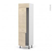 Colonne de cuisine N°2721 - Frigo 2 portes encastrables - STILO Noyer Blanchi - 2 portes - L60 x H217 x P58 cm