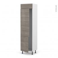 Colonne de cuisine N°2721 - Frigo 2 portes encastrables - STILO Noyer Naturel - 2 portes - L60 x H217 x P58 cm