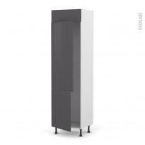 Colonne de cuisine N°2721 - Frigo 2 portes encastrables - GINKO Gris - 2 portes - L60 x H217 x P58 cm
