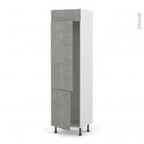 Colonne de cuisine N°2721 - Frigo 2 portes encastrables - FAKTO Béton - 2 portes - L60 x H217 x P58 cm