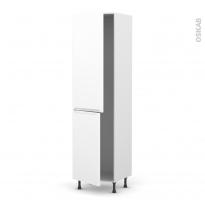 Colonne de cuisine N°2724 - Frigo encastrable 1 porte - PIMA Blanc - 2 portes - L60 x H217 x P58 cm
