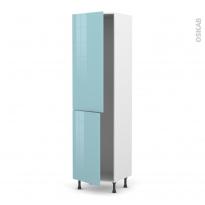 Colonne de cuisine N°2724 - Frigo encastrable 1 porte - KERIA Bleu - 2 portes - L60 x H217 x P58 cm