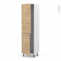 Colonne de cuisine N°2724 - Frigo encastrable 1 porte - HOSTA Chêne naturel - 2 portes - L60 x H217 x P58 cm