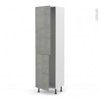 Colonne de cuisine N°2724 - Frigo encastrable 1 porte - FAKTO Béton - 2 portes - L60 x H217 x P58 cm